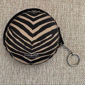 Coach Zebra Print Coin Key Case
